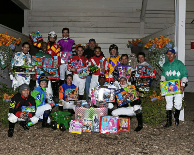 Jockeys Collect Toys for Local Children's Event  at Indiana Grand Racing & Casino